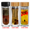 Wholesale custom logo double wall thick bottom drinking glass water bottle with bamboo lid