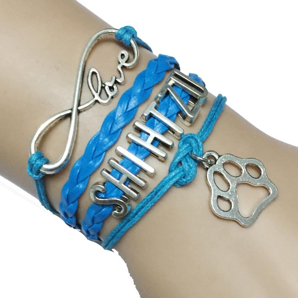Drop Shipping Handmade Leather Blue Infinity Love Shih Tzu ...
