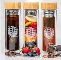 New products eco friendly healthy double wall glass bottle for tea with infuser