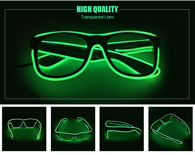 led shutter sunglasses promotional el wire sunglasses in green light
