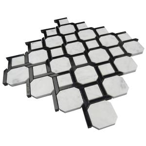 "1 inch hexagon White Onyx Polished Mosaic Tiles Meshed on 12"" X 12"" Sheet for Backsplash"