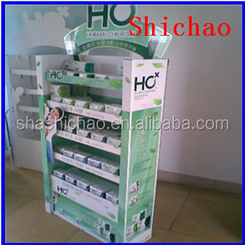 Paper floor display rack two sides cardboard shelf for chewing gum/chutty/cachou