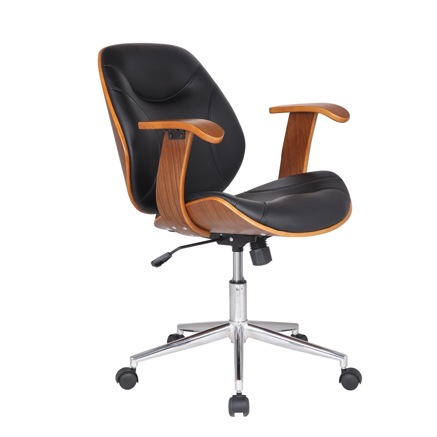 Adeco Bentwood Adjule Swivel Home Office Mobile Desk Chairs With Wood Arm Rest Caster Wheels