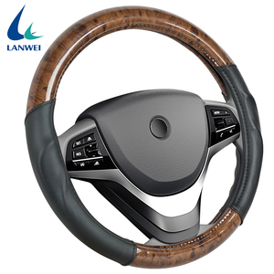 Professional manufacturers provide soft hand feeling wood grain PVC PU leather steering wheel cover