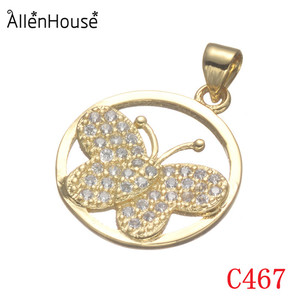 custom logo new design dubai jewellery gold plating round inlayed zircon beads butterfly pendant for necklace