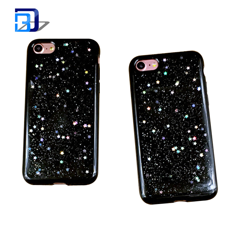 Best sales products in alibaba jelly phone case glitter star silicone back cover case for iphone 7