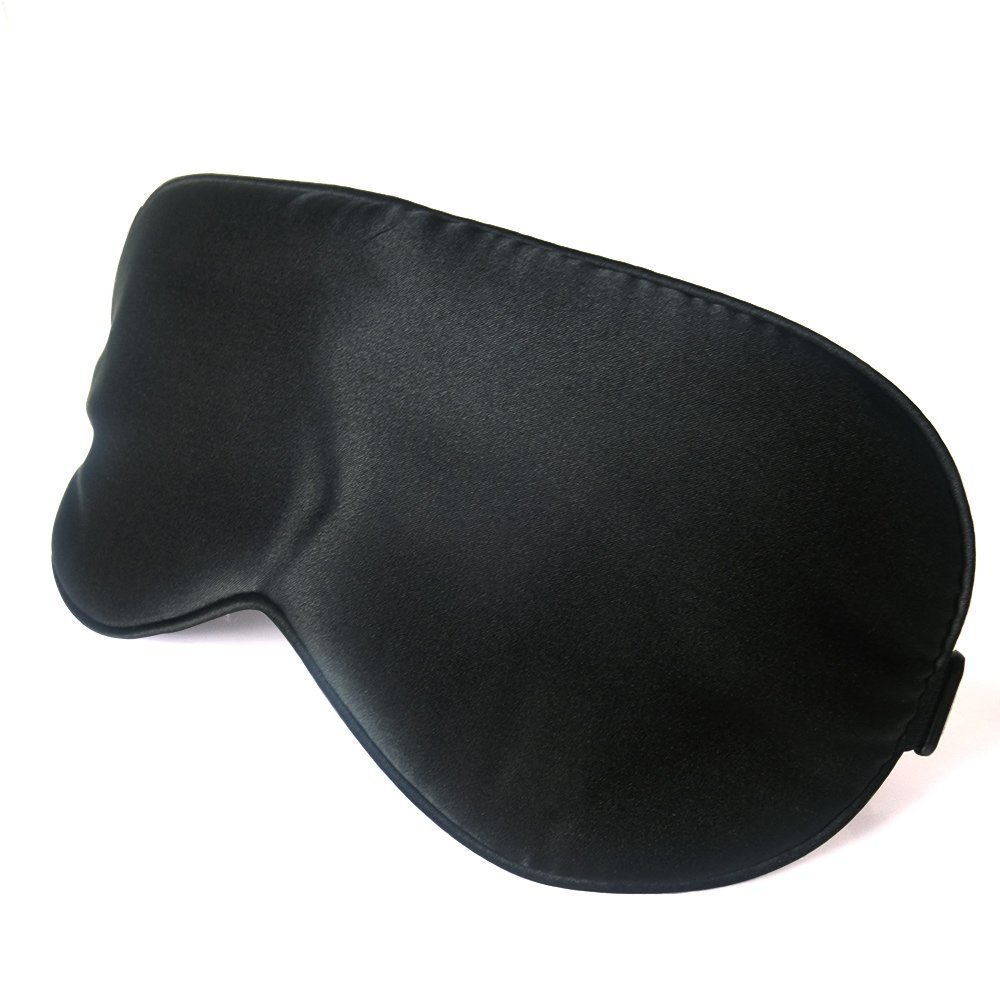 Natural Mulberry Silk Mask-Reversible Premium Super-smooth Sleep Silk Blinder Eyeshade for Travel, Relaxing, Flight, Shift Workers and Fast Asleep Black