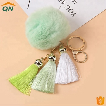 Gold Plated keyrings Rabbit Fur Ball Tassels Pom Pom Keychain For Car Key Ring Handbag Bag Pendant Charm