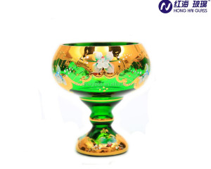 cheap fruit glass bowl factory stock handmade pedestal with gold plated Green glass bowl 0953W