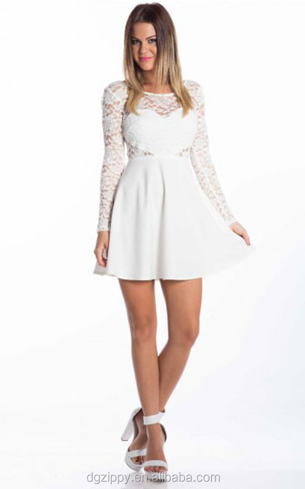 Lace Overlay Bodice And Long Sleeves White Lace Dress Designer One Piece Dress Buy White Lace Dresslace Dressdesigner One Piece Dress Product On