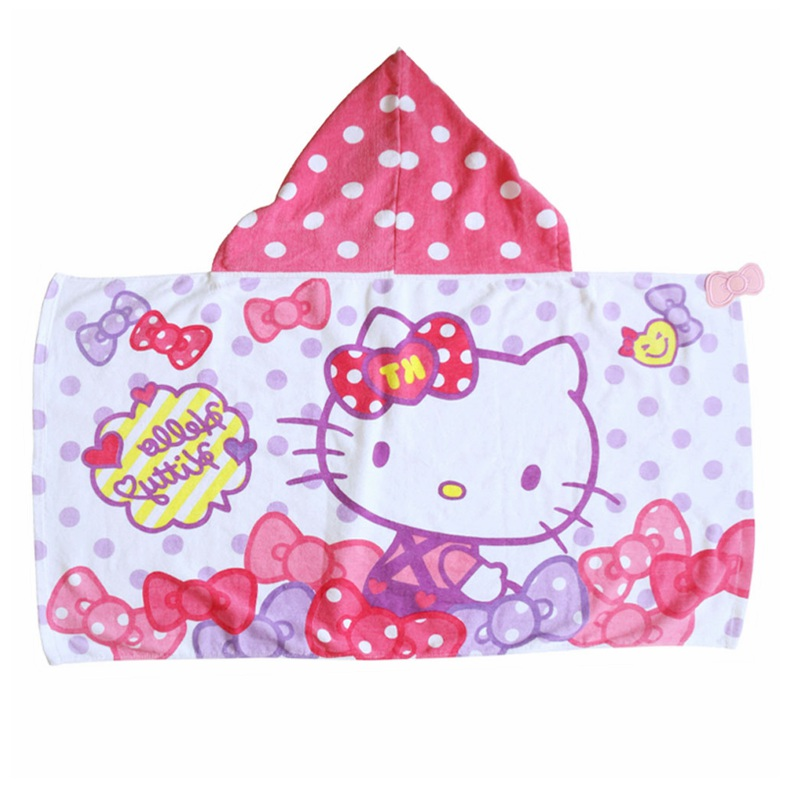 Roze prinses 100% katoen custom hello kitty digital printing baby hooded handdoek voor kids