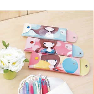 2014 cute 3 pocket non woven notebook zipper binder school pencil bag