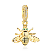 100% 925 Sterling Silver Custom heart Gold Charms Animal Honey Bee Charm Bead for Snake Women Bracelet Making