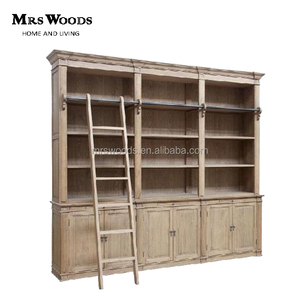 french style display wood bookcase,recycled wood vintage bookcase,country style wood bookcase with ladder