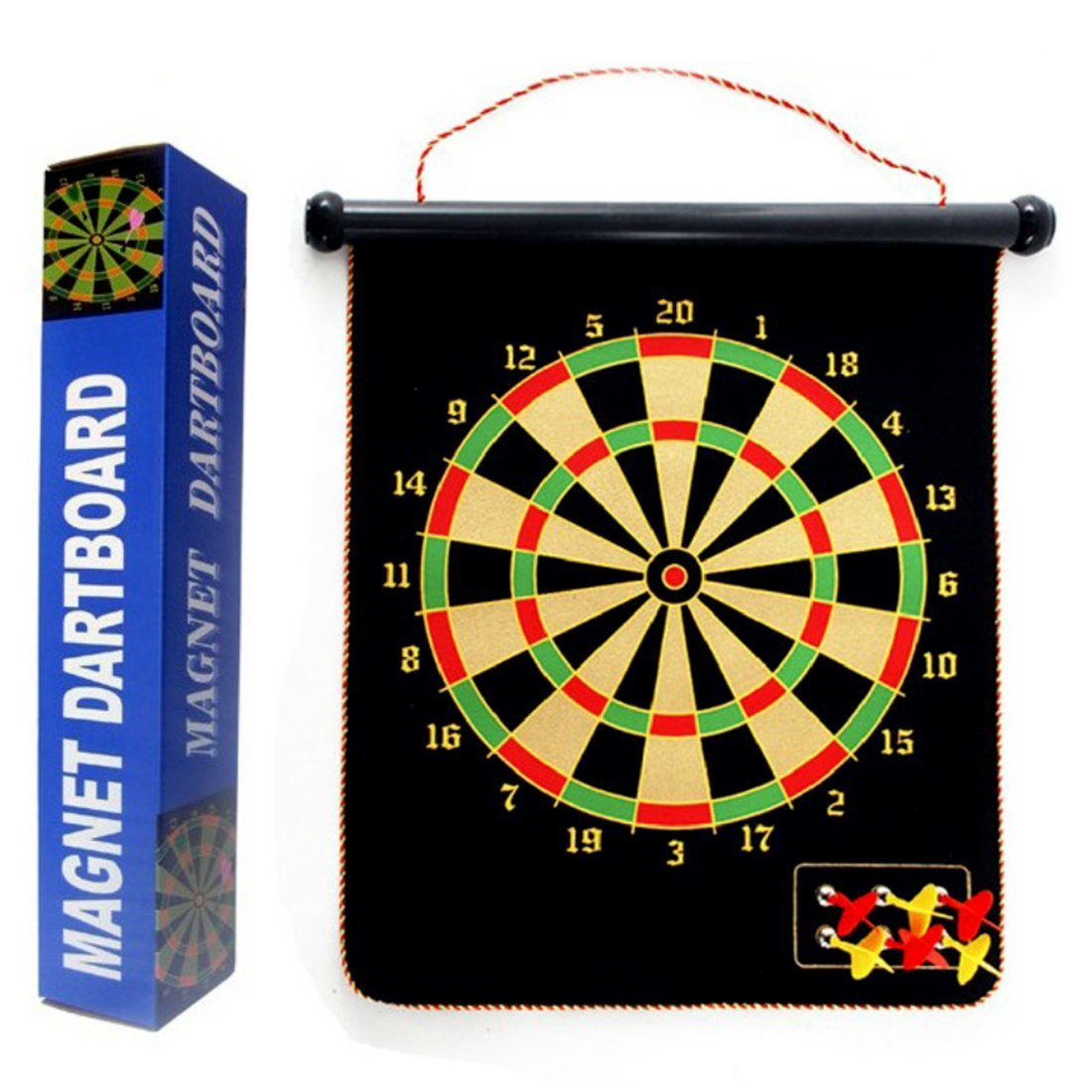 Dart Board, Yamix 17inch Magnetic Roll-up Dart Board Double Sided Hanging Dart Game Set with Six Darts