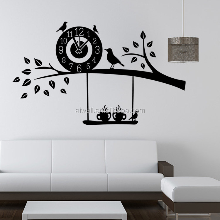 9391 BIrds Stickers With Clock For Dining Room Kid Room Girl Room  Decorations Wall Decals Wall Art Cartoon