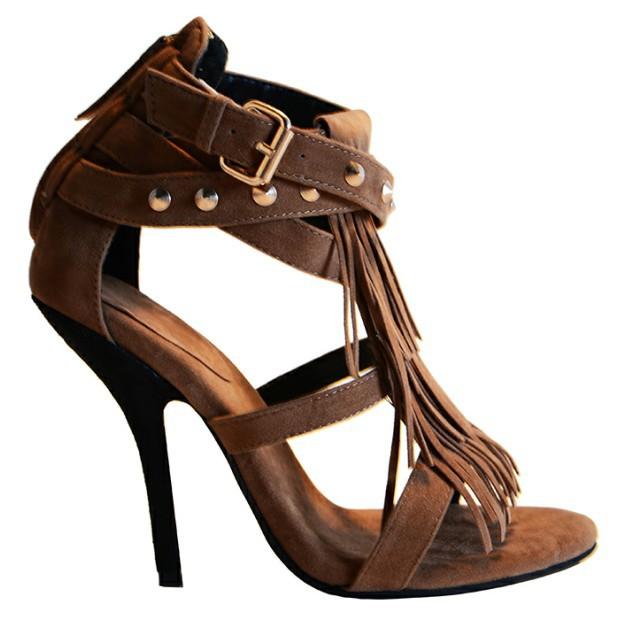 b31efbdb2af248 Get Quotations · Custom-made Dark Brown Tassel Rivet Women Sandals Thin  High Heels Sandals Open Toe Summer