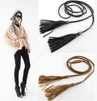Chic Women PU Leather Thin Braided Tassel Waist Belt Strap Rope Woven Waistband