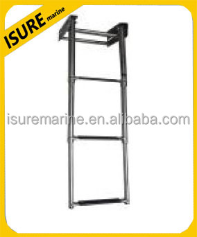 3 Steps Under Platform Boat Boarding Stainless Telescoping Ladder US FREE SHIP