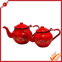 High Quality Graceful Tea Pot Glass Red Enamel Coated Metal ...