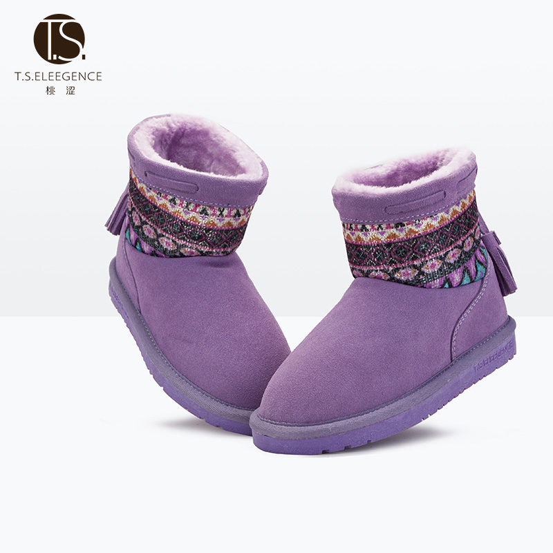 11.11 christmas Size28-36 Winter new national fashion girls boots children plus velvet thick cotton fashion boots warm snow boot