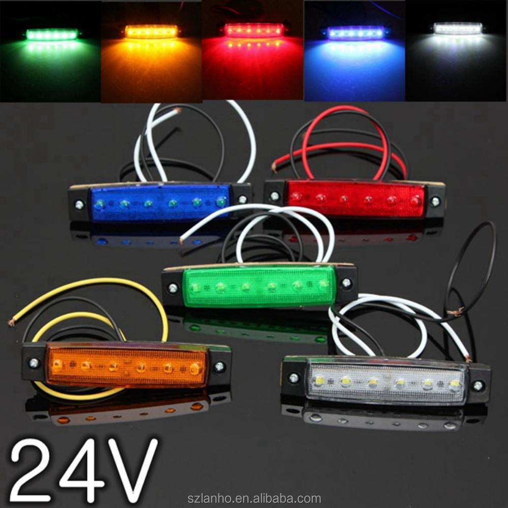 3.8 인치 6 SMD LED 0.5w 24v 사이드 마커 키트 표시등 트럭 트레일러 ...
