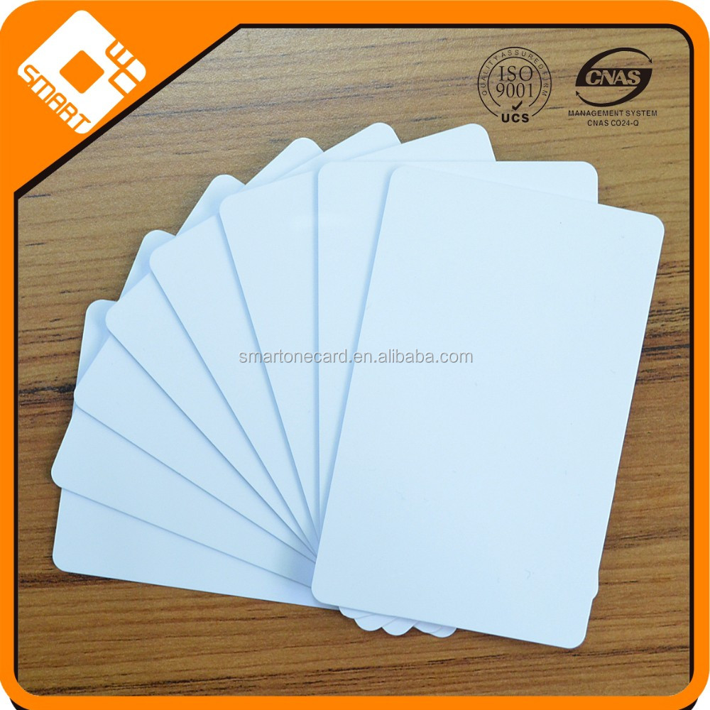 Glossy finish lamination white Blank credit card Size business id cards