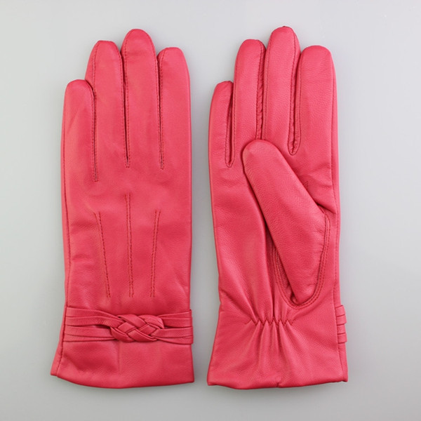 sexy girls in pink leather gloves