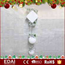 Delicate design white hanging ornament with giftbox fabric hanging christmas balls