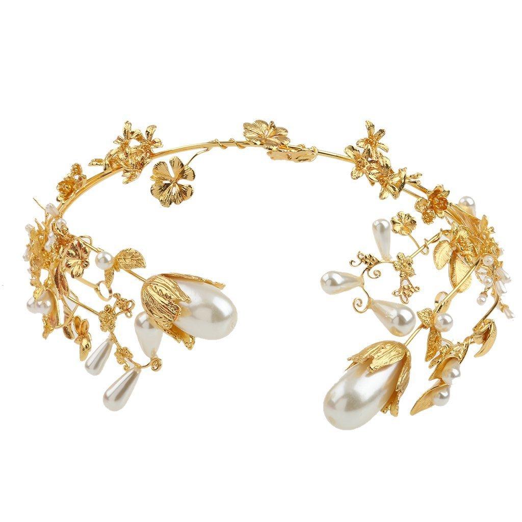 Baroque Pearls Bridal Headband Crown Tiara Wedding Jewelry Gold Plated