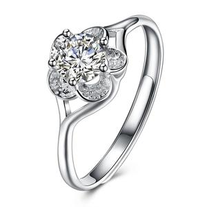Flower Zircon Jewellery Cubic Zirconia Engagement Wedding CZ Diamond Ring Adjustable Women Sterling Silver 925 Ring