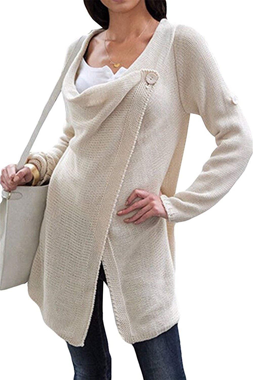 Bikifree Women's Tassel Hem Crew Neck Knited Sweater Coat Outwear