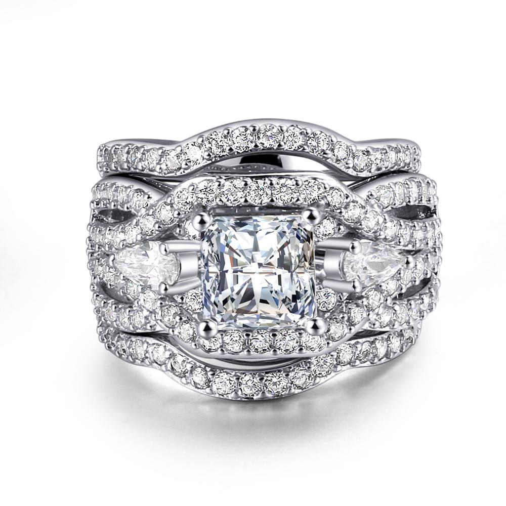 Wholesale Women Jewelry White Gold Plated Cz Diamond Three Piece