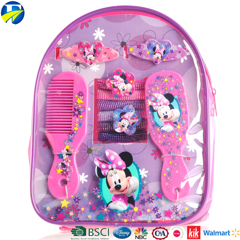 FJ Brand hot selling supplies backpack fancy hair accessories set mickey kids hair accessories set bag