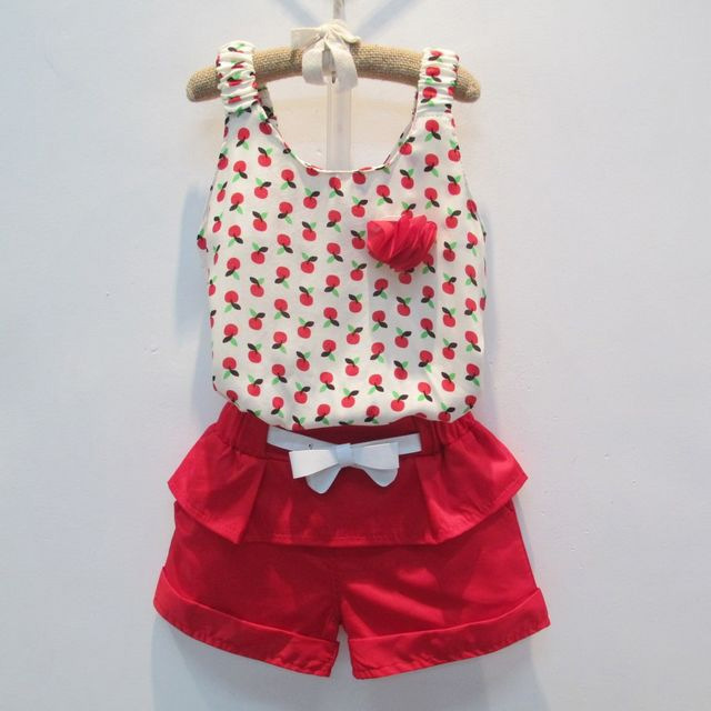 Exquisite Kids Clothing Sets Cherry Tops With Red Shorts Clothing ...