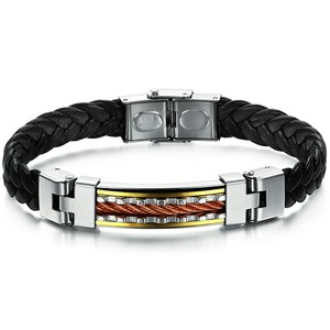 Marlary Punk Men Leather Meaeguet Buckle Bracelets Bangles Gold Plated Stainless Steel Bracelet