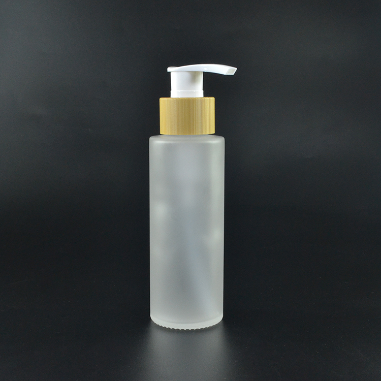 30ml 60ml PFB frosted clear bottle and jar with bamboo lotion pump disc top cap screw cap bamboo/wooden bottle