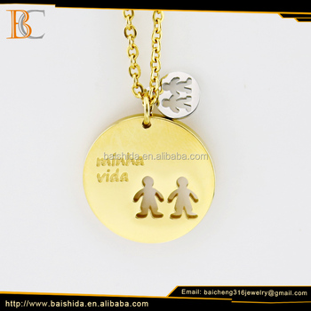 China factory high quality friendship picture stainless steel necklace set with gold plated jewelry set