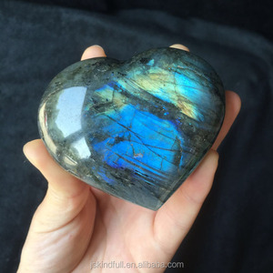 Natural polished heart shaped quartz crystals great shiny labradorite rock stone heart wholesale