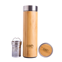 500ml Double Wall bamboo Stainless Steel Vacuum thermos flask with mesh infuser