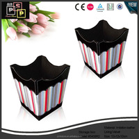 reasonable price pu leather waste bins top quality drawing room wooden trash can