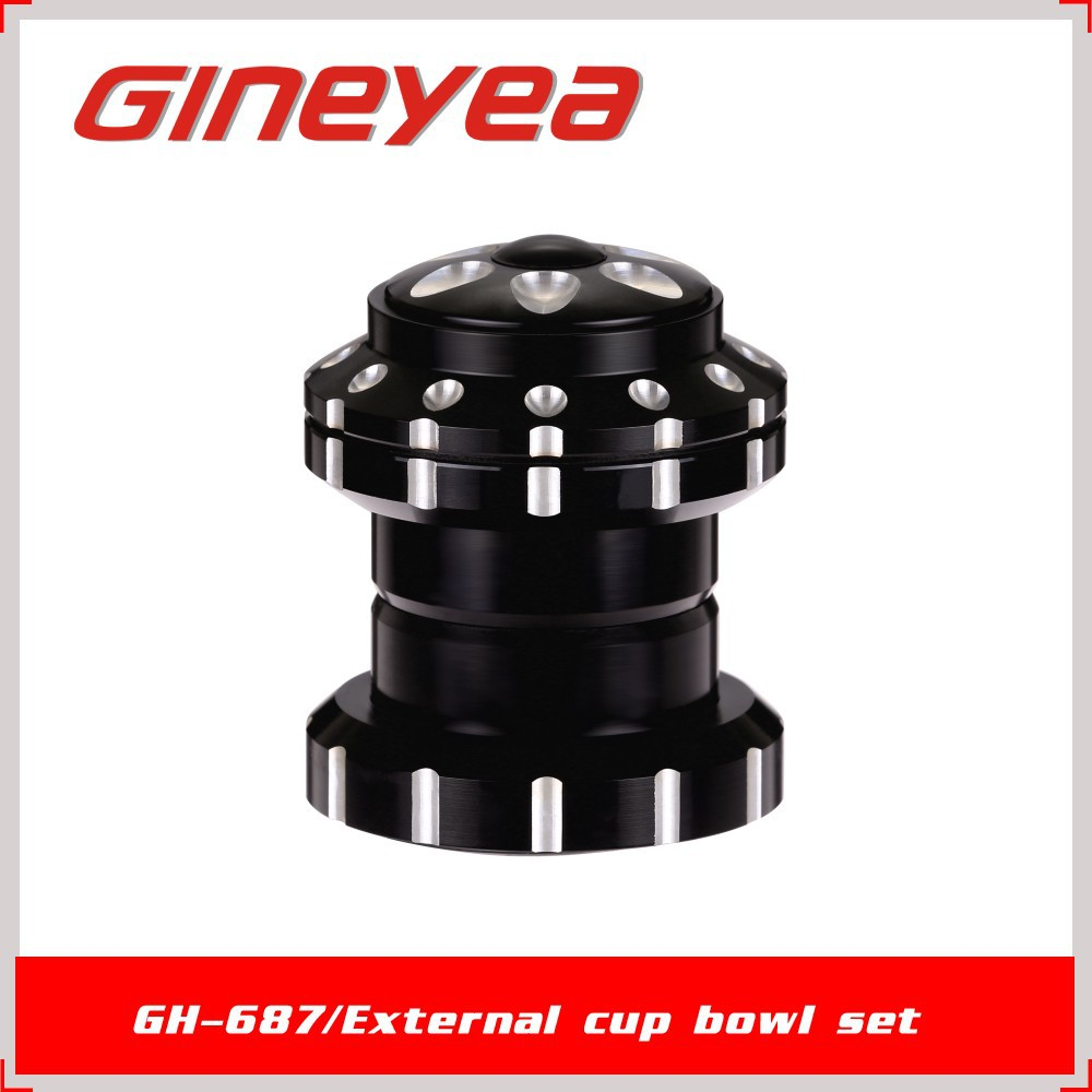 "Gineyea GH-687 Aluminum Alloy External Threadless TaiWan Bearing Bicycle HeadParts for 1-1/8"" Front Fork Stem and Grown Race 30"