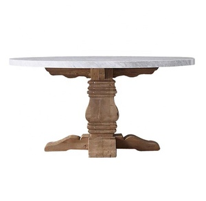 Reclaimed elm wood marble trestle round dining table