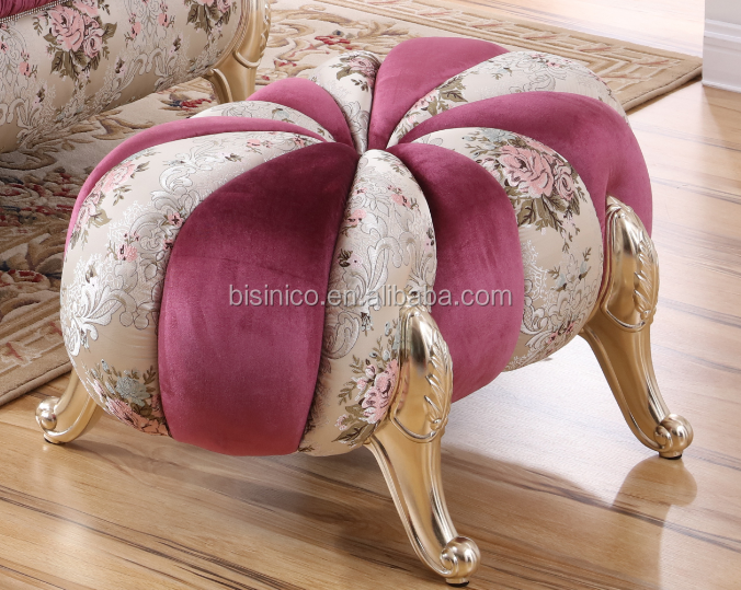 Jujube Red European Neoclassical Living Room Furniture Set / Round Sofa Bench Pumpkin Stool