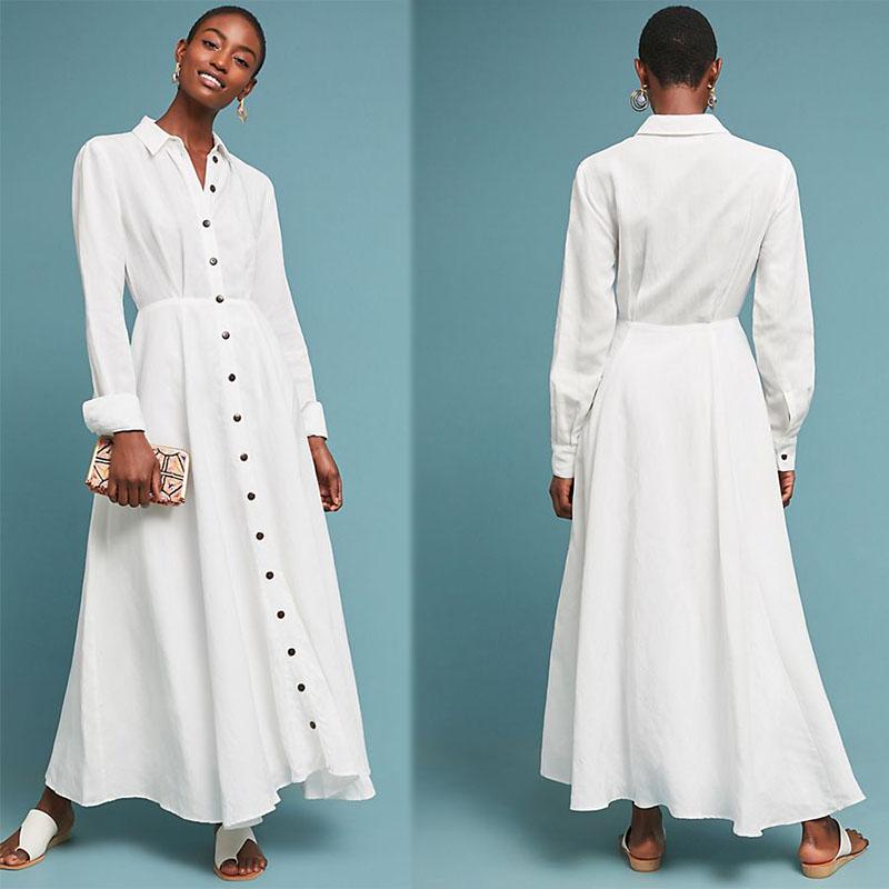 Jatuh Pakaian Lengan Panjang Maxi Linen Kemeja Wanita