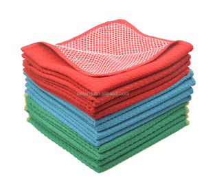 Sinland Blue/Green/Red Assorted fast drying Microfiber household Dishcloth with Poly Scour Side kitchen cloth