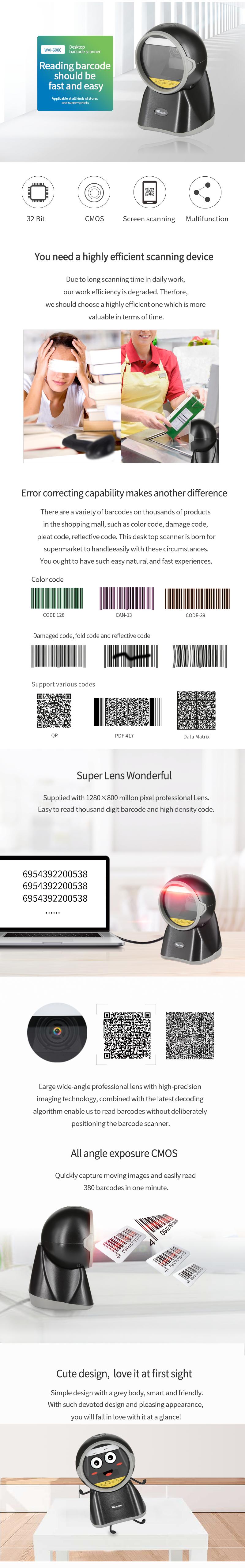Cheapest 2D Barcode Scanner / Omnidirectional Qr Code Scanner Usb / logitech barcode reader