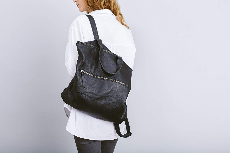 39d2c168d361 Get Quotations · Black leather backpack
