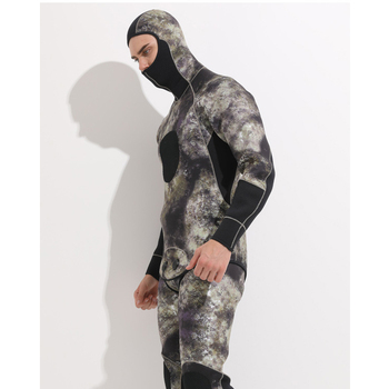 5MM Neoprene Wet suit Camouflage Spearfishing Wetsuits for Underwater Hunting Hooded 2-pieces Thicker Scuba Diving Suit