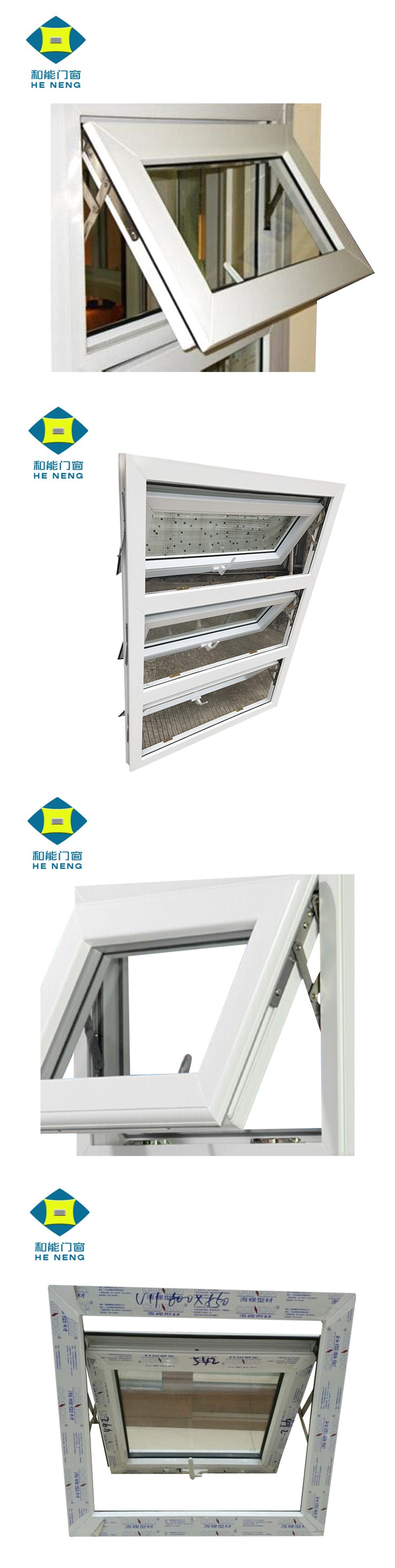 China Supplier PVC Awning Top Hung Casement Windows